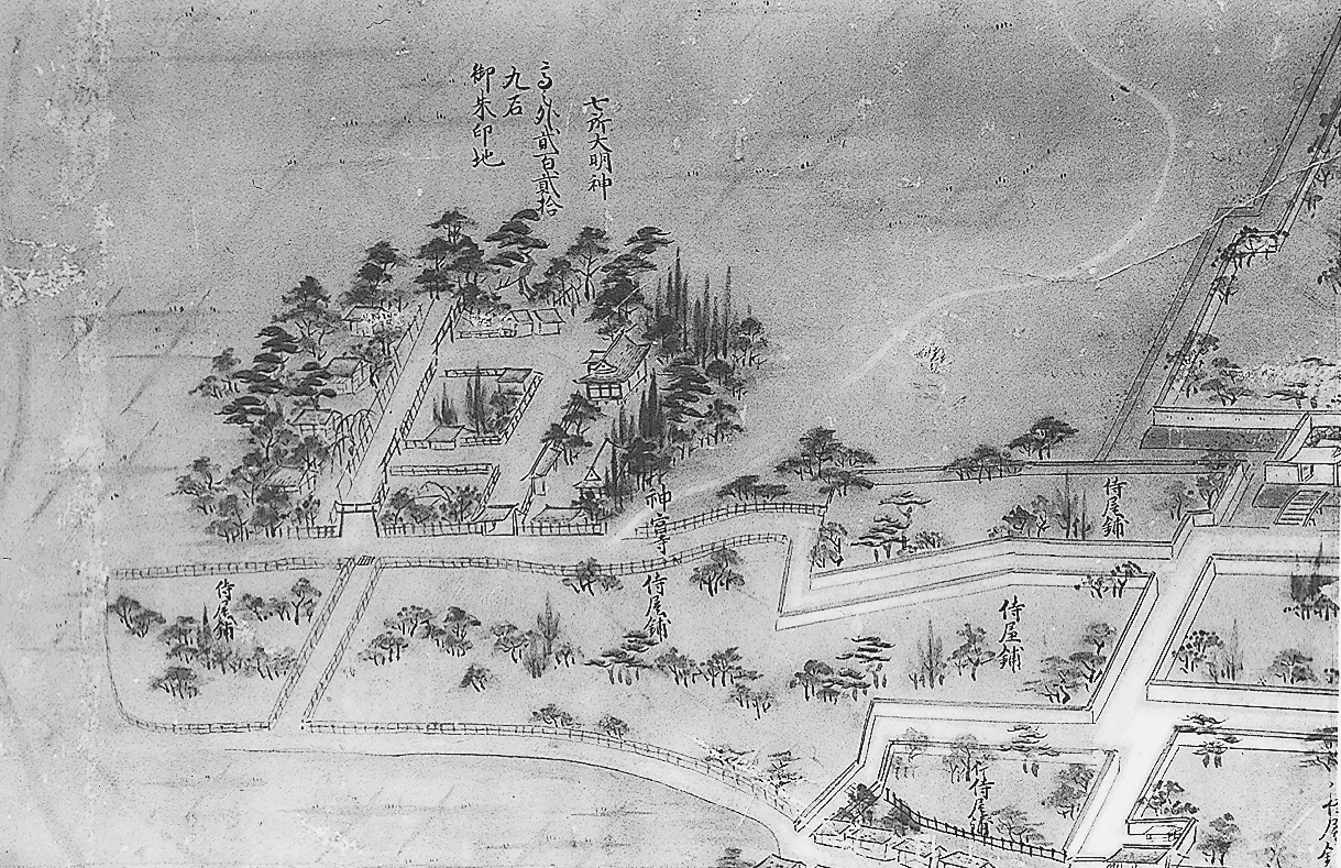 七所明神と神宮寺(領内絵図屏風部分)
