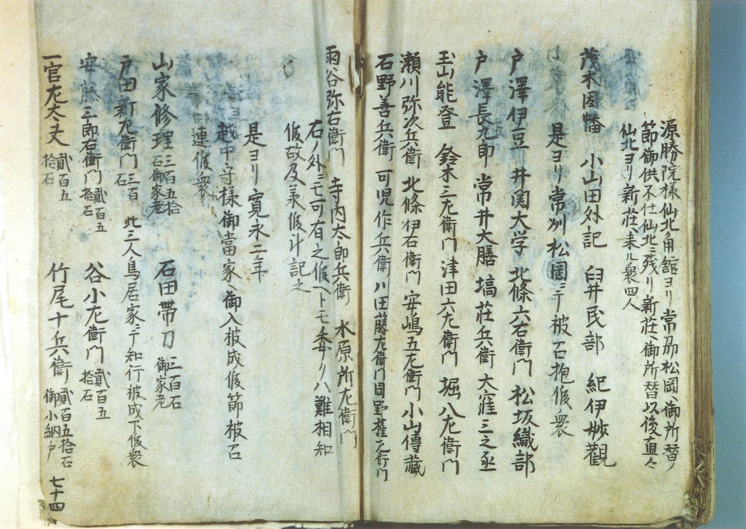 「松岡以来の衆」(「戸沢藩系図書」より)