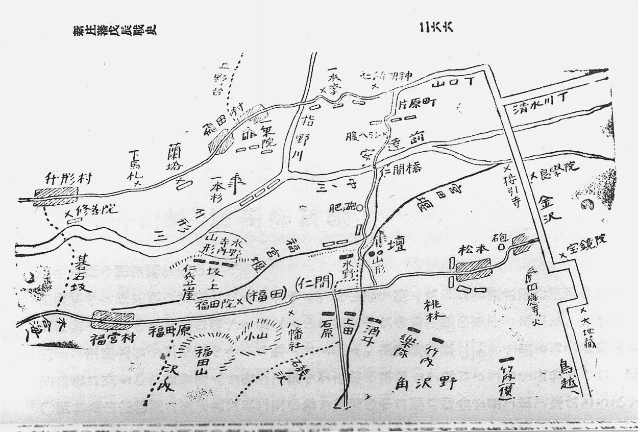 戊辰戦争庄内藩兵等配置図