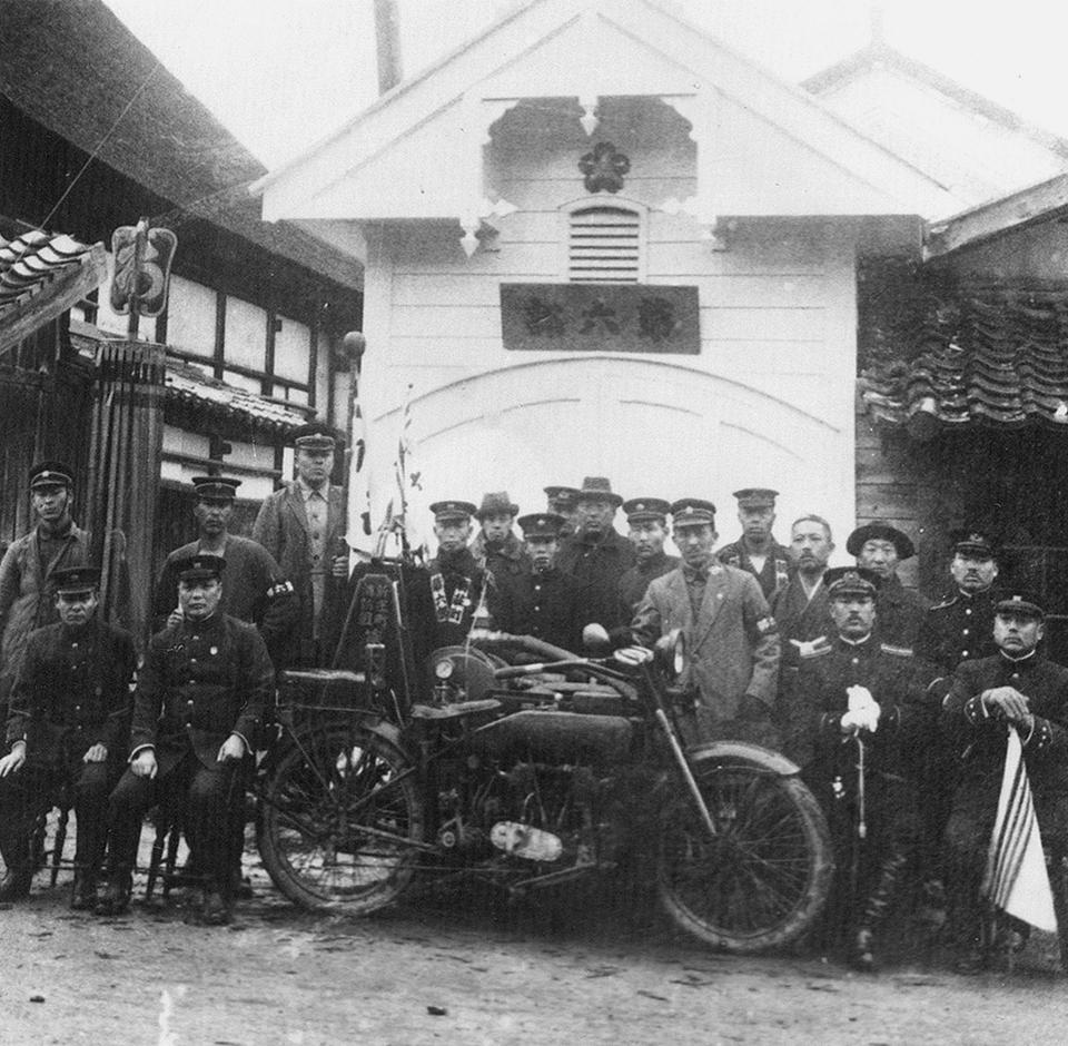 消防演習(大正11年)オートバイポンプ 下万場町