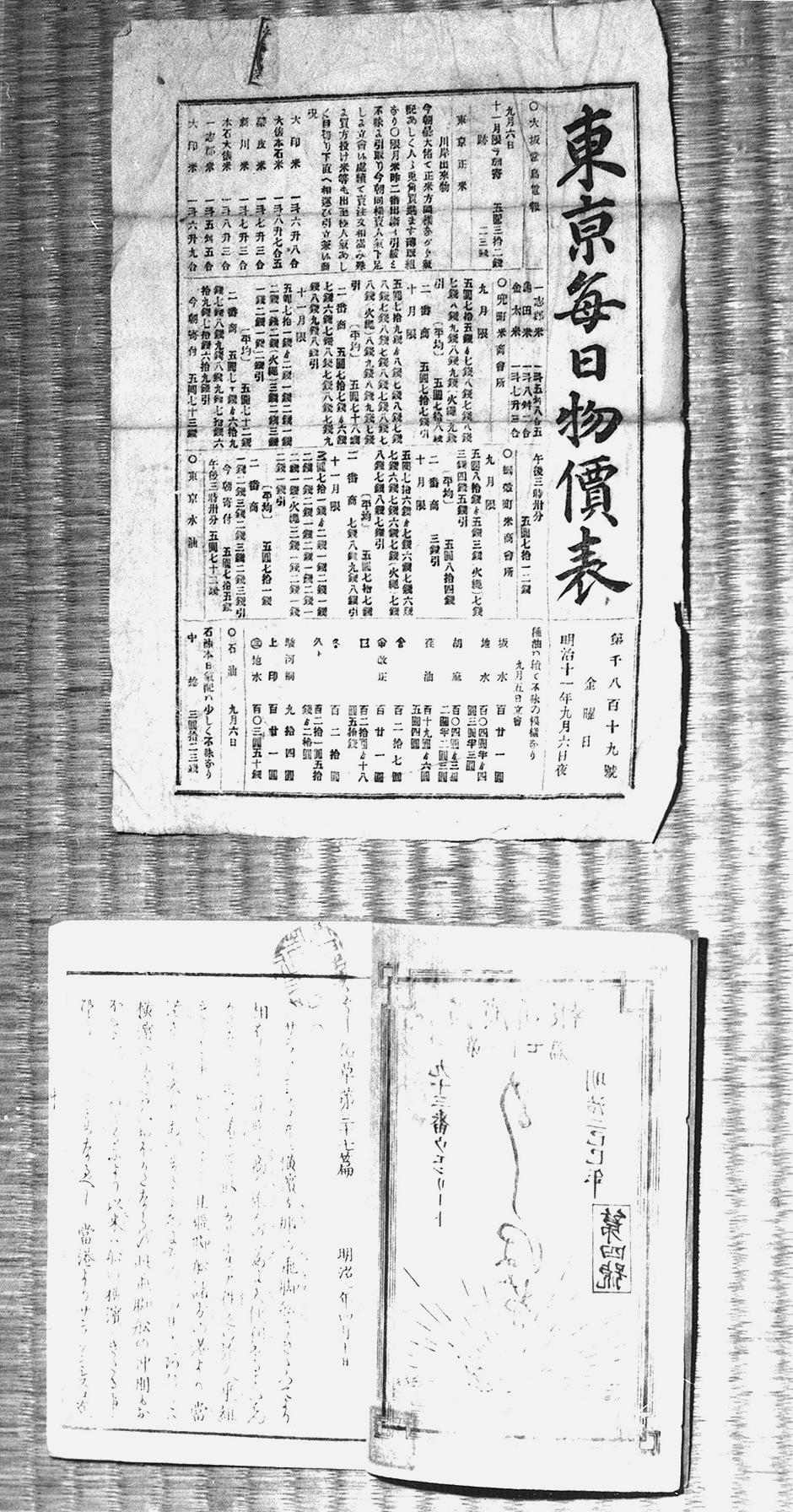 東京毎日物価表と報知新聞