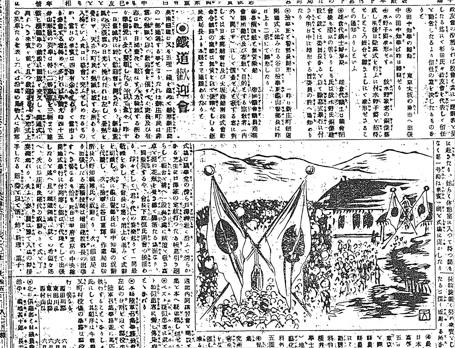 新庄駅頭鉄道歓迎会