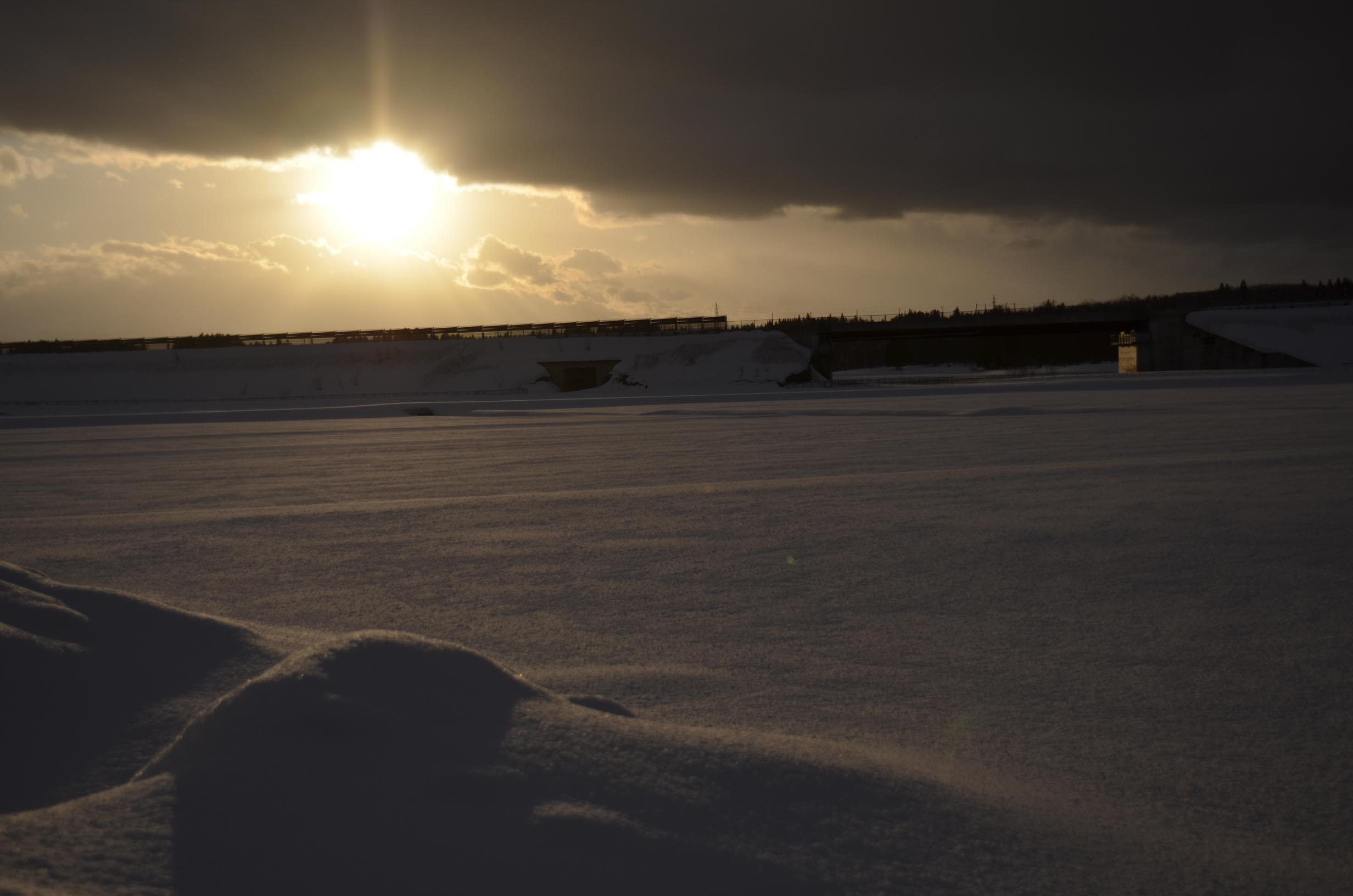 夕暮れどきの雪原