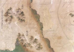 領内図屏風(二間・松本村部分)