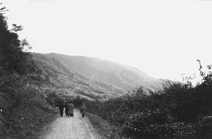 山の道路と男性3.人