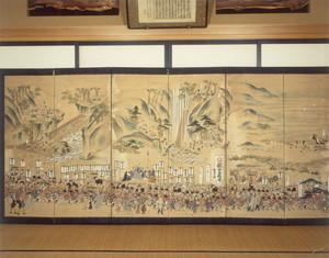 京都東本願寺御再建につき献上木として御影堂一番御虹梁並びに御柱山出し運搬之図