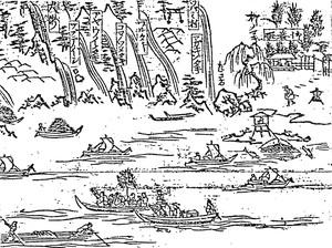 巻持網漁(「羽州最上郡外川山仙人堂並ニ近里略絵図」部分)