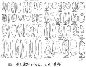 横前遺跡から出土した旧石器群(実測図)