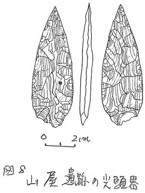山屋遺跡出土の尖頭器(実測図)