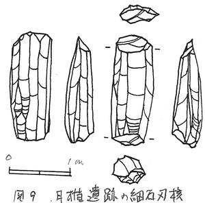 月楯遺跡出土の細石刃核(実測図)