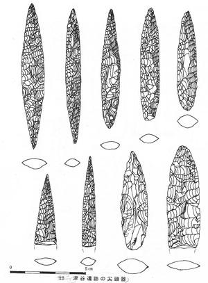 津谷遺跡出土の尖頭器(実測図)