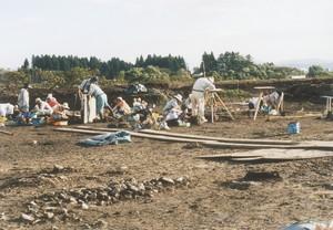 中川原C遺跡の発掘調査の様子