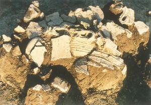 中川原C遺跡からの土器の出土状況
