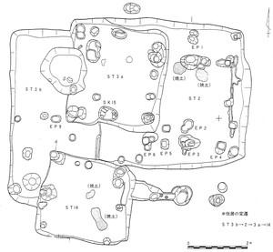 平安時代の住居跡実測図(水木田遺跡)