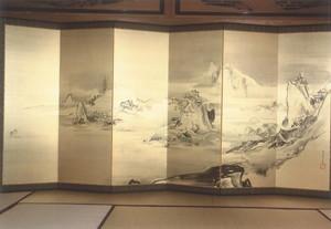 狩野探令 西湖山水図(右双)