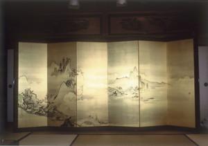 狩野探令 西湖山水図(左双)