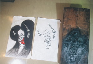 隠明寺凧絵般若版木と墨刷り・着色したもの